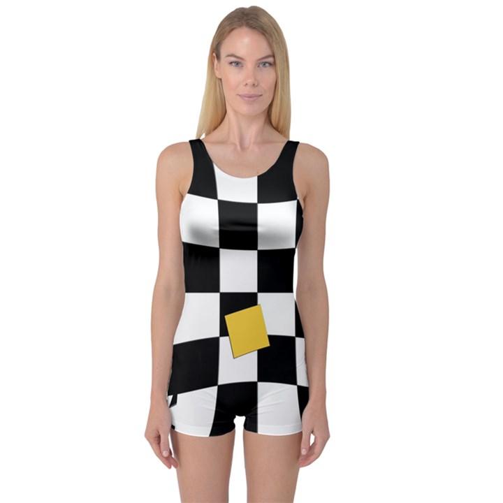 Dropout Yellow Black And White Distorted Check One Piece Boyleg Swimsuit