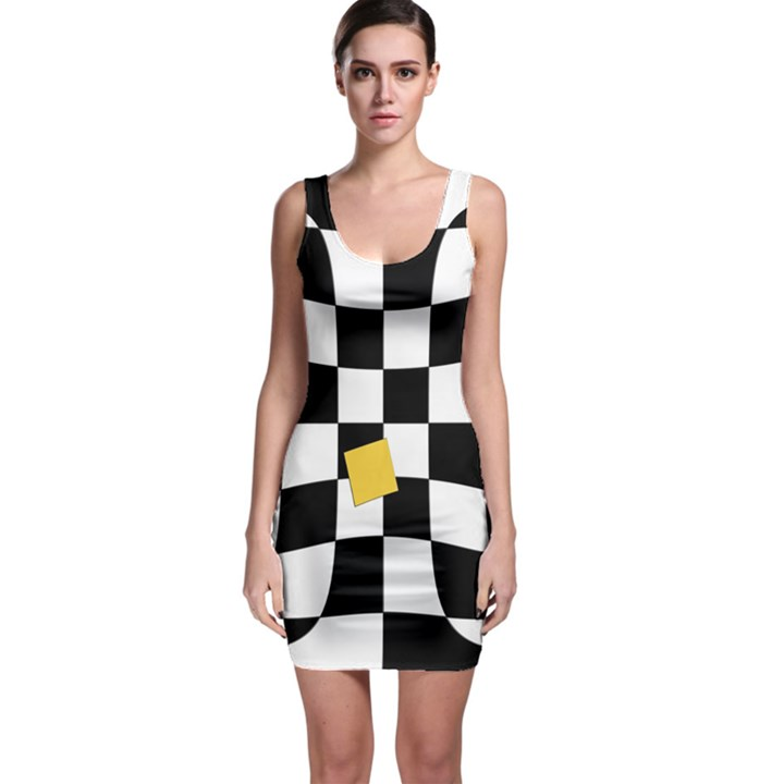 Dropout Yellow Black And White Distorted Check Sleeveless Bodycon Dress
