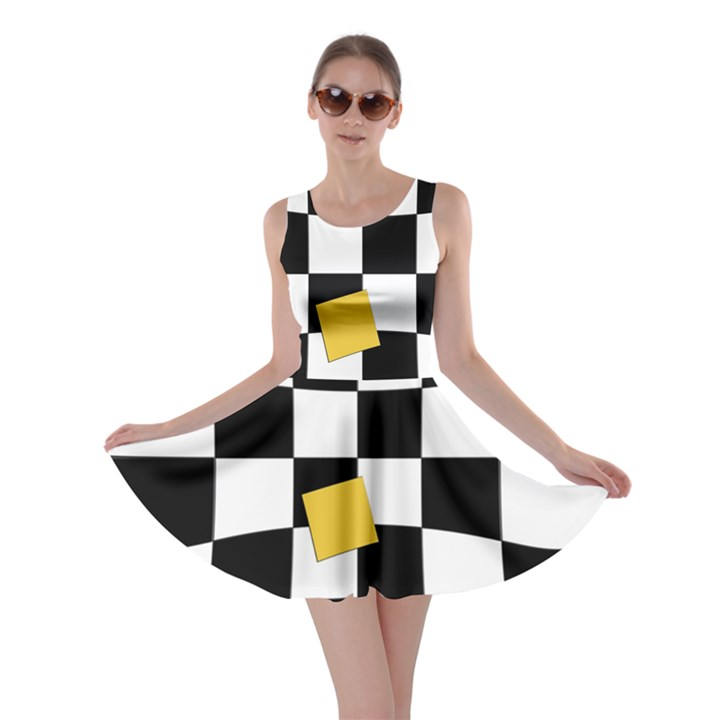 Dropout Yellow Black And White Distorted Check Skater Dress