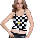 Dropout Yellow Black And White Distorted Check Spaghetti Strap Bra Top View1