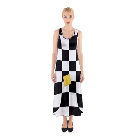 Dropout Yellow Black And White Distorted Check Sleeveless Maxi Dress
