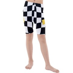 Dropout Yellow Black And White Distorted Check Kids  Mid Length Swim Shorts