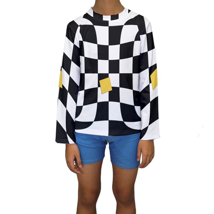 Dropout Yellow Black And White Distorted Check Kids  Long Sleeve Swimwear
