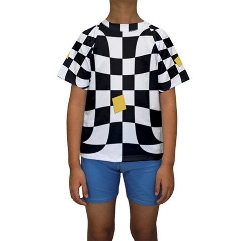 Dropout Yellow Black And White Distorted Check Kids  Short Sleeve Swimwear