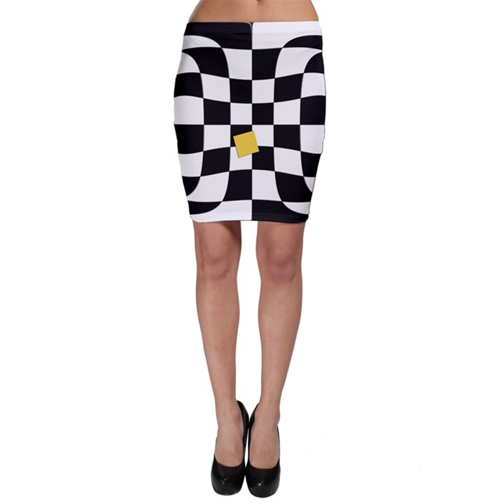 Dropout Yellow Black And White Distorted Check Bodycon Skirt