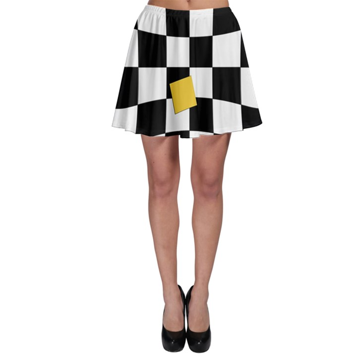 Dropout Yellow Black And White Distorted Check Skater Skirt