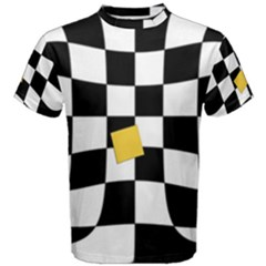 Dropout Yellow Black And White Distorted Check Men s Cotton Tee