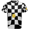 Dropout Yellow Black And White Distorted Check Men s Cotton Tee View1