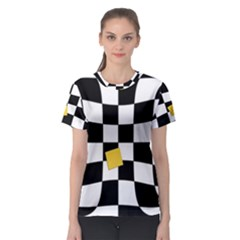Dropout Yellow Black And White Distorted Check Women s Sport Mesh Tee