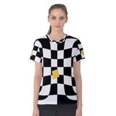 Dropout Yellow Black And White Distorted Check Women s Cotton Tee