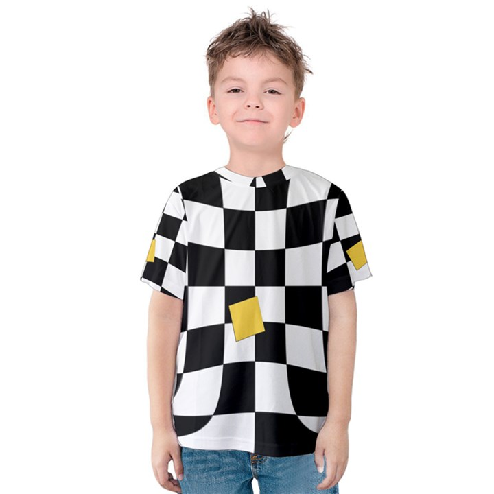 Dropout Yellow Black And White Distorted Check Kids  Cotton Tee