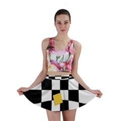 Dropout Yellow Black And White Distorted Check Mini Skirt