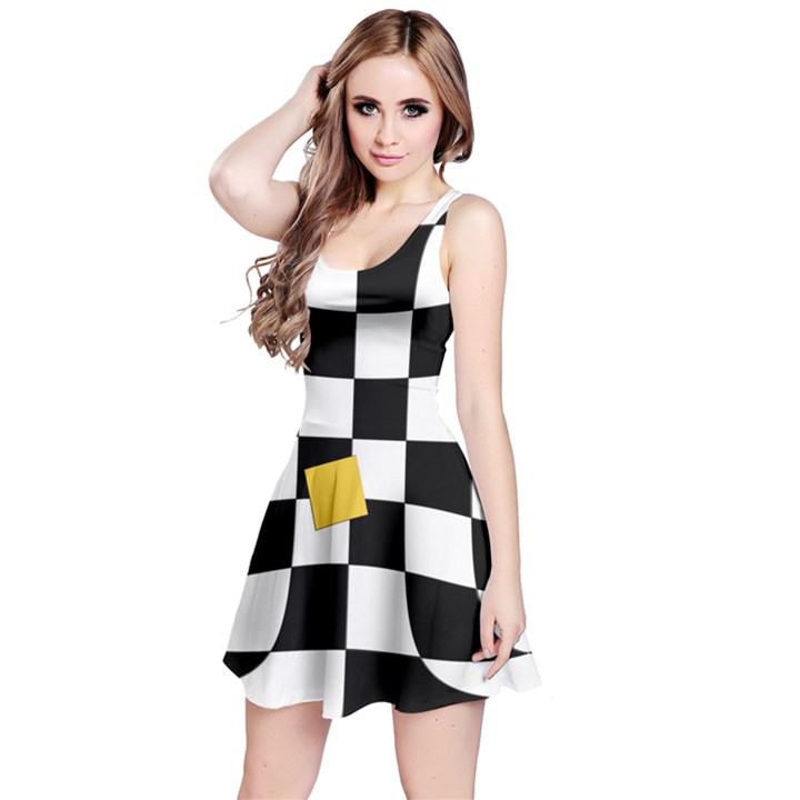 Dropout Yellow Black And White Distorted Check Reversible Sleeveless Dress