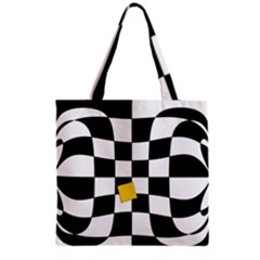 Dropout Yellow Black And White Distorted Check Grocery Tote Bag