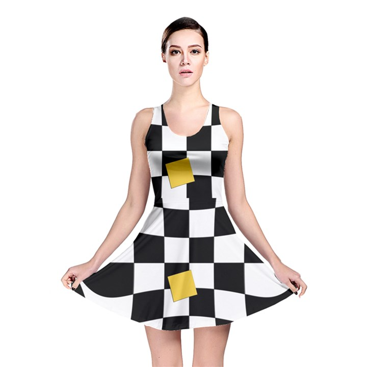 Dropout Yellow Black And White Distorted Check Reversible Skater Dress