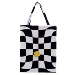 Dropout Yellow Black And White Distorted Check Classic Tote Bag