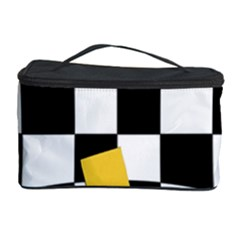 Dropout Yellow Black And White Distorted Check Cosmetic Storage Case