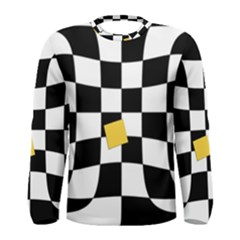Dropout Yellow Black And White Distorted Check Men s Long Sleeve Tee