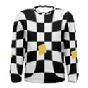 Dropout Yellow Black And White Distorted Check Men s Long Sleeve Tee View1