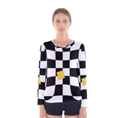 Dropout Yellow Black And White Distorted Check Women s Long Sleeve Tee