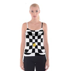 Dropout Yellow Black And White Distorted Check Spaghetti Strap Top