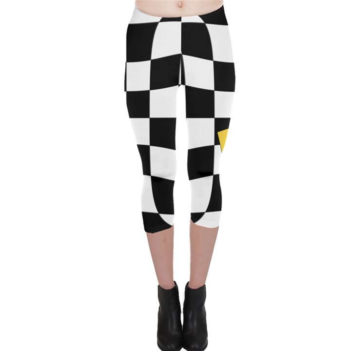 Dropout Yellow Black And White Distorted Check Capri Leggings
