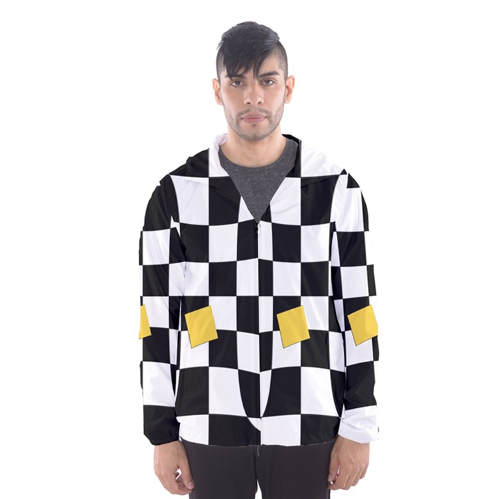 Dropout Yellow Black And White Distorted Check Hooded Wind Breaker (Men)
