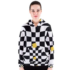 Dropout Yellow Black And White Distorted Check Women s Zipper Hoodie