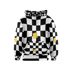 Dropout Yellow Black And White Distorted Check Kids  Zipper Hoodie