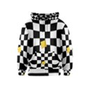 Dropout Yellow Black And White Distorted Check Kids  Zipper Hoodie View1