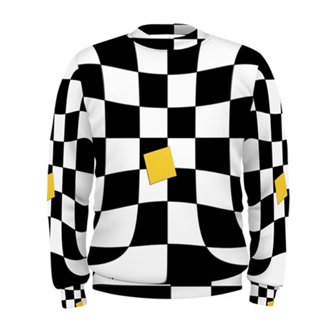 Dropout Yellow Black And White Distorted Check Men s Sweatshirt