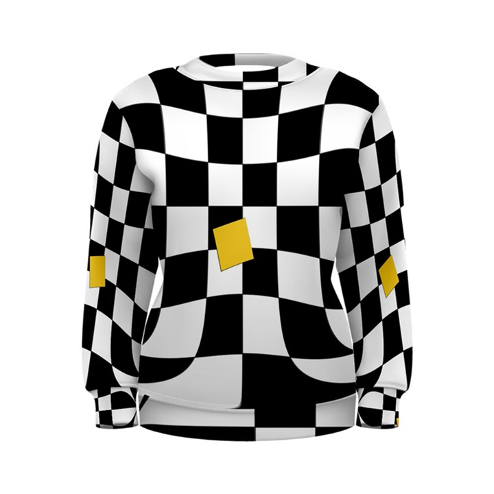 Dropout Yellow Black And White Distorted Check Women s Sweatshirt