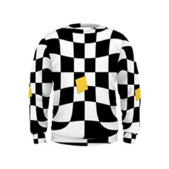 Dropout Yellow Black And White Distorted Check Kids  Sweatshirt