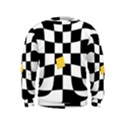 Dropout Yellow Black And White Distorted Check Kids  Sweatshirt View1