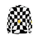 Dropout Yellow Black And White Distorted Check Kids  Sweatshirt View2