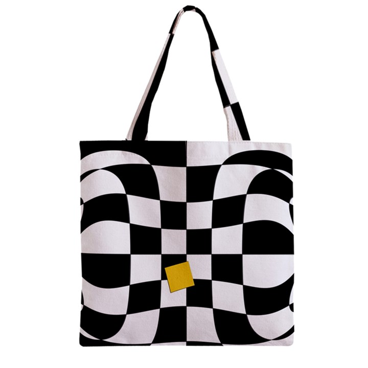 Dropout Yellow Black And White Distorted Check Zipper Grocery Tote Bag