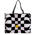 Dropout Yellow Black And White Distorted Check Zipper Mini Tote Bag View1