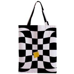Dropout Yellow Black And White Distorted Check Zipper Classic Tote Bag