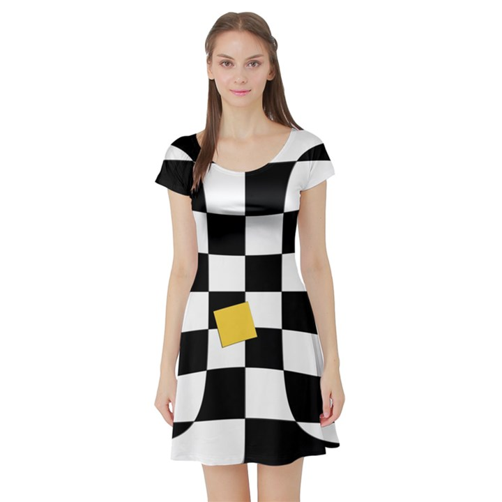 Dropout Yellow Black And White Distorted Check Short Sleeve Skater Dress