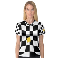 Dropout Yellow Black And White Distorted Check Women s V Neck Sport Mesh Tee