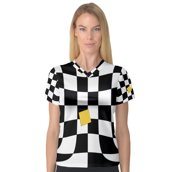 Dropout Yellow Black And White Distorted Check Women s V-Neck Sport Mesh Tee