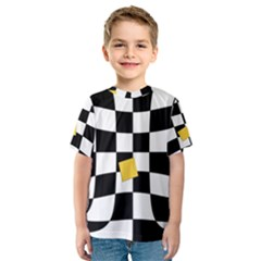 Dropout Yellow Black And White Distorted Check Kids  Sport Mesh Tee