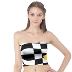 Dropout Yellow Black And White Distorted Check Tube Top