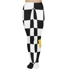 Dropout Yellow Black And White Distorted Check Women s Tights
