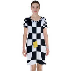 Dropout Yellow Black And White Distorted Check Short Sleeve Nightdress