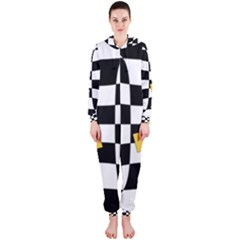 Dropout Yellow Black And White Distorted Check Hooded Jumpsuit (ladies)