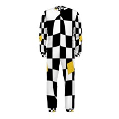 Dropout Yellow Black And White Distorted Check OnePiece Jumpsuit (Kids)