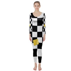 Dropout Yellow Black And White Distorted Check Long Sleeve Catsuit