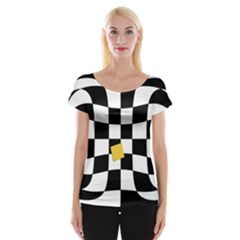 Dropout Yellow Black And White Distorted Check Women s Cap Sleeve Top