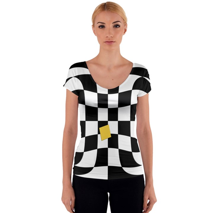 Dropout Yellow Black And White Distorted Check Women s V-Neck Cap Sleeve Top